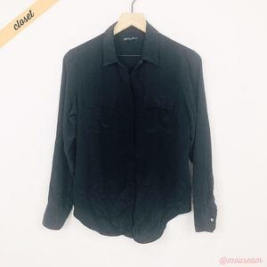 [Broadway & Broome] Black Silk Button Front Shirt